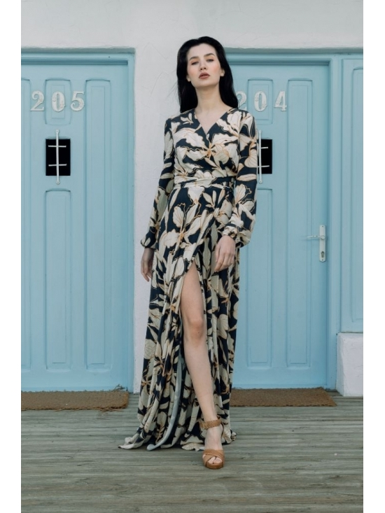 Rochie Ligia bleumarin din vascoza imprimata 100% #4
