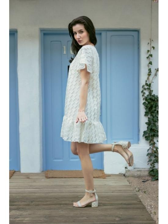 Rochie Leggera din jacquard alb #2