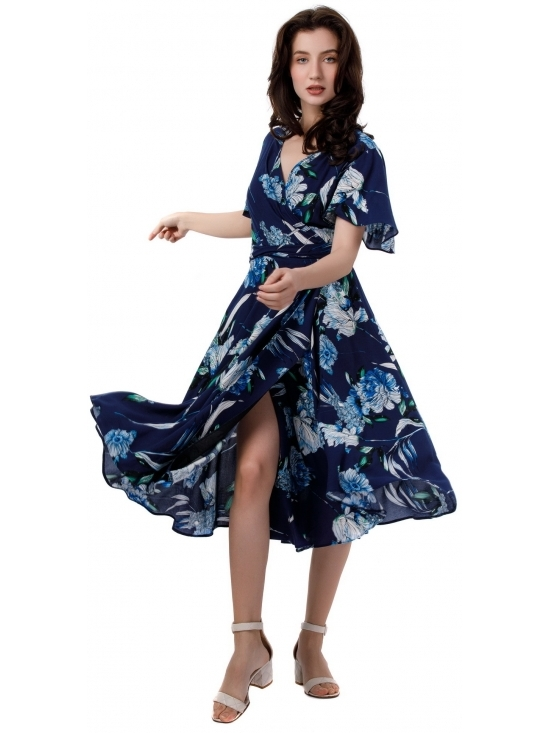 Rochie Lilette bleumarin-bleu din vascoza imprimata 100%