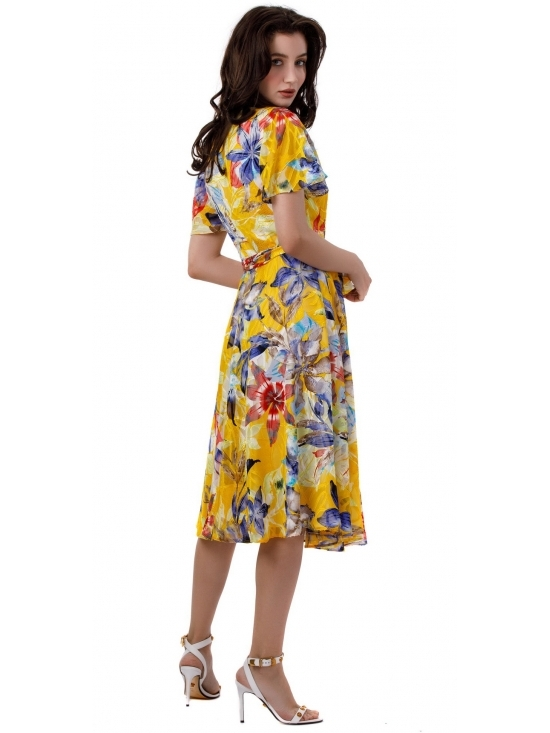 Rochie Lilette imprimata galben-bleumarin #5