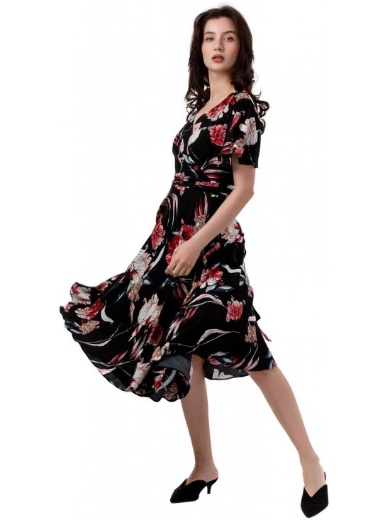 Rochie Lilette imprimata negru-rosu din vascoza 100% #3