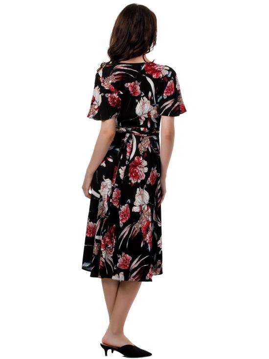 Rochie Lilette imprimata negru-rosu din vascoza 100% #4