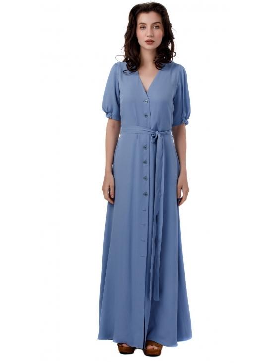 Rochie Nina maxi bleu din vascoza 100% #2
