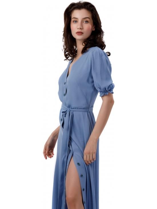 Rochie Nina maxi bleu din vascoza 100% #5