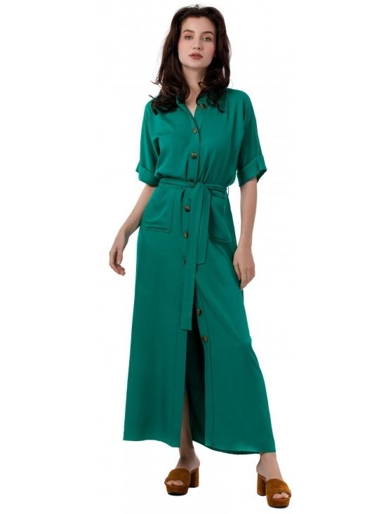 Rochie Lexi verde lunga din vascoza 100% #2