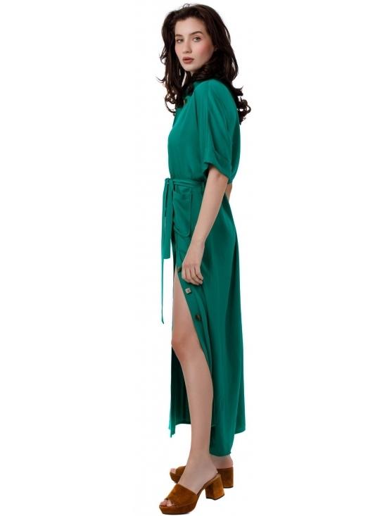 Rochie Lexi verde lunga din vascoza 100% #3