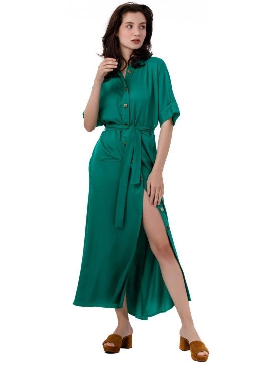 Rochie Lexi verde lunga din vascoza 100%