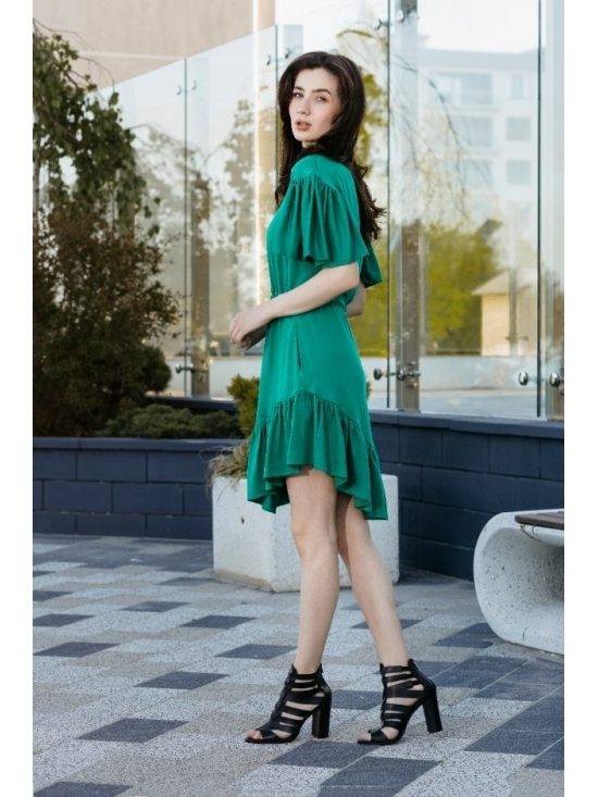 Rochie Sybill verde subtire din vascoza 100% #2