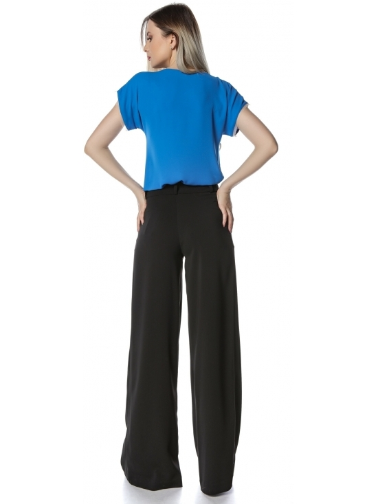 Bluza Mara albastru royal esentiala cu garnitura tull #2