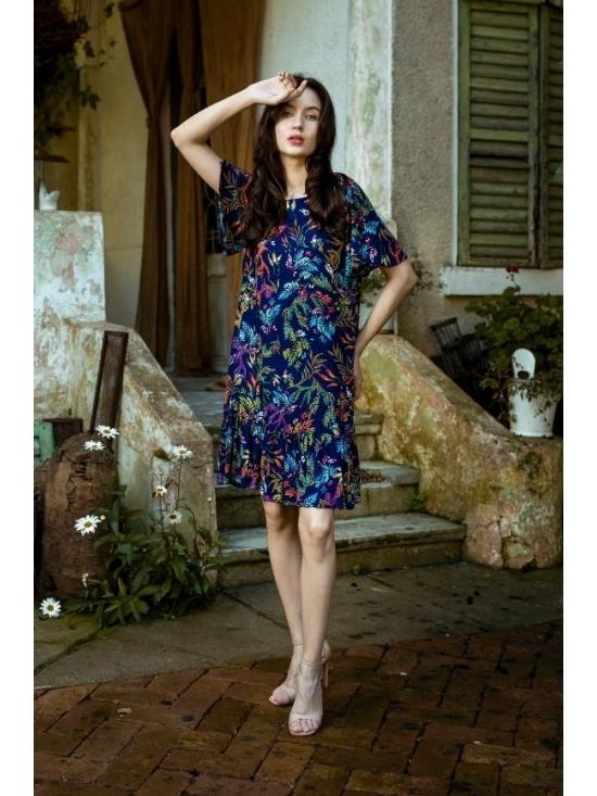 Rochie Leggera imprimata cu flori turquoise din vascoza 100% #2
