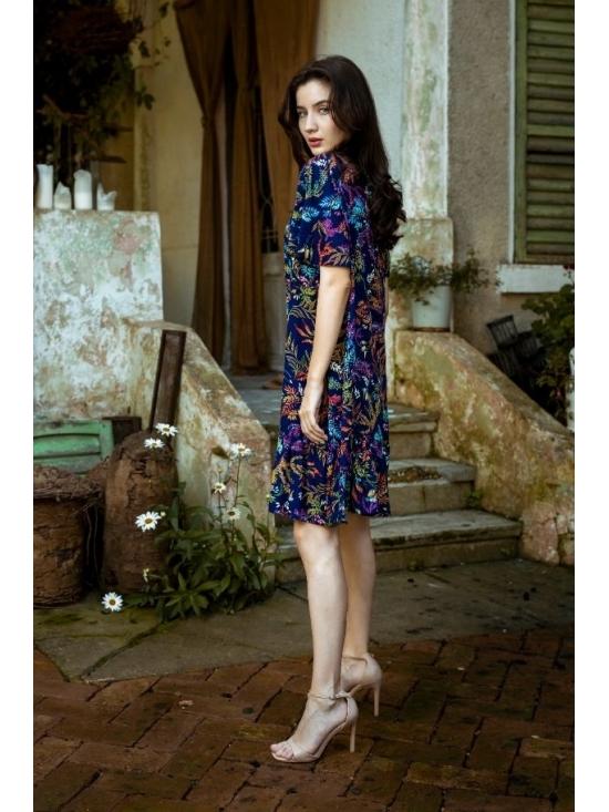 Rochie Leggera imprimata cu flori turquoise din vascoza 100% #3