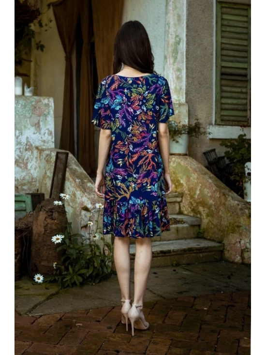Rochie Leggera imprimata cu flori turquoise din vascoza 100% #4