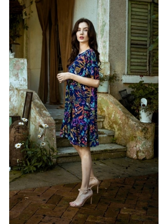 Rochie Leggera imprimata cu flori turquoise din vascoza 100%