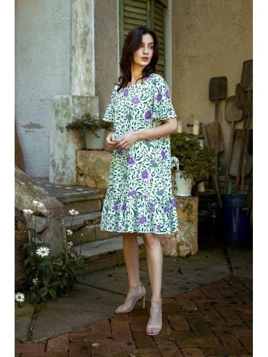 Rochie Leggera alba cu flori mov din vascoza 100% #2